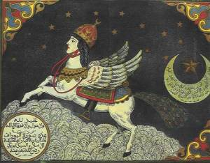 Buraq, the flying mule or horse, who has a human face in this miniature because something something.