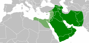 The Caliphate as it had shrunk under Ali; the light green are the areas that were eventually in open revolt against him.