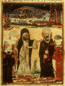 An illustration of Ali receiving investiture from Muhammad at Ghadir Khumm, from a much later Mongolian text.