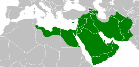 The Caliphate under Uthman, minus his temporary gains in the west. Note the modest advancement of the frontiers as compared with the caliphate under Umar, plus the addition of Cyprus. (via)