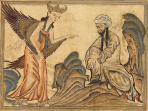 Miniature of Muhammad receiving the revelation from Gabriel, taken from a manuscript of a 14th century world history