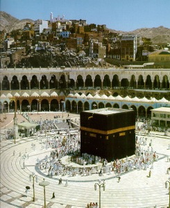 The comparatively much quieter Kaaba surrounded by worshipers on Umrah