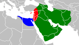 When Muʿawiyah II died, Ibn al-Zubayr controlled (at least nominally) the area in green, the area in blue, and the southern part of the area in red, more or less.