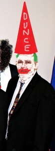 Lafourche Parish Council Chair Lionel Toups (FULL DISCLOSURE: I tinkered with this image. There was a stain on Toups' dunce hat that I airbrushed out.)