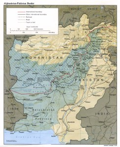 The Durand Line, as well as the current-day border, with the shaded blue area showing the Pashtun and Baluch areas that were divided by the line.