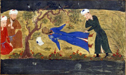 """Ala al-Din Muhammad's death, from an illuminated manuscript of a 14th century Mongol world history; I think those two guys on the left are shouting """"WHY DIDN'T YOU JUST TRADE WITH THE GUY"""" at Ala al-Din as he lay dying. (via)"""