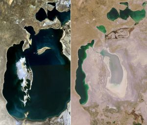 """The Aral Sea; believe it or not, the """"before"""" picture is from 1989, and the """"after"""" from 2008, so it's dried out that much in only about 2 decades."""