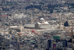 The Umayyad Mosque in Damascus, at least as it was before the war (via)