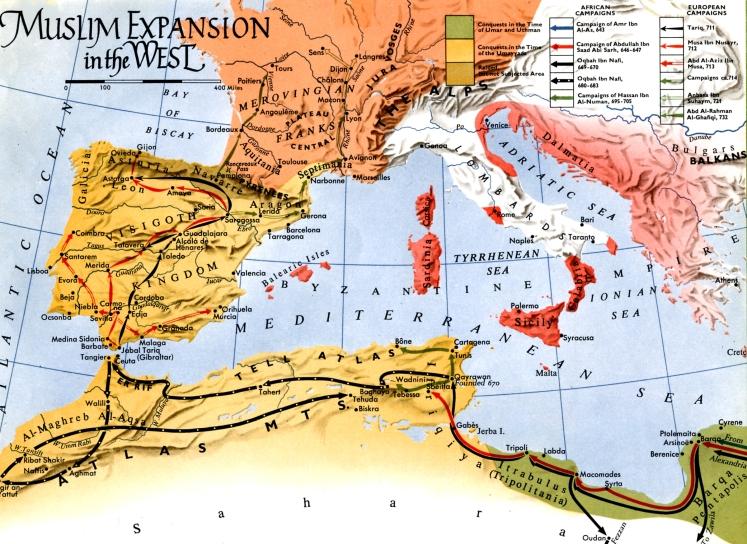 Expansion Islamique ver l'ouest sous l'égide des Omeyyades de Dimashq