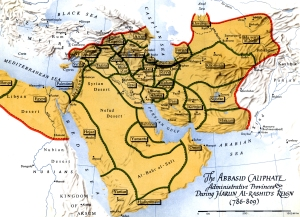 Administrative divisions of the caliphate under Harun al-Rashid; if you look in the eastern part of the map you'll see Merv and Rayy.