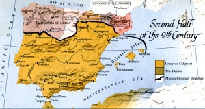 Al-Andalus as it was on paper in the second half of the 9th century; in reality, the Umayyads controlled little outside of Cordoba