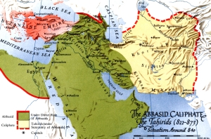 The caliphate, with the region governed by the Tahirids in yellow.