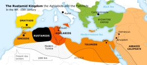 This map is a little simplified, but easy to read and you can see where the Rustamids, Aghlabids, Idrisids, and Umayyads were at (forget the Tulunids for now, we'll get to them later); the map comes from this site, which I highly recommend if you're interested in Islamic history