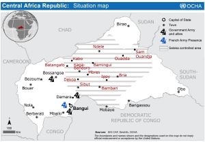 Map of the Central African Republic showing the areas controlled by the Seleka (via)