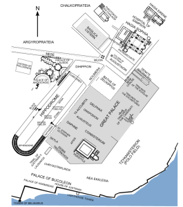Map showing the Hippodrome of Constantinople and the Imperial Palace (via)
