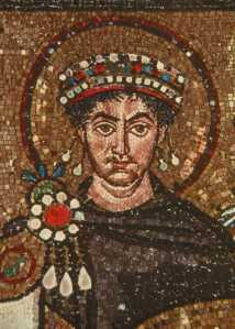 Justinian I, according to a painting in the Basilica of San Vitale in Ravenna, Italy (via)