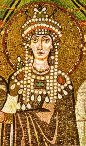 Theodora, mosaic also from San Vitale in Ravenna (via)