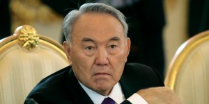 Nursultan Nazarbayev, seen here probably getting ready to throw another opposition voter in prison. (via)