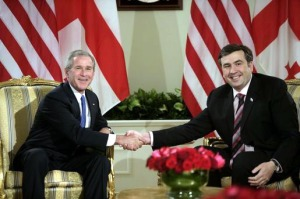Yep, that's him, as President of Georgia, with President Bush