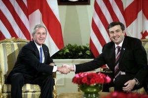 Yep, that's him, as President of Georgia, with President Bush