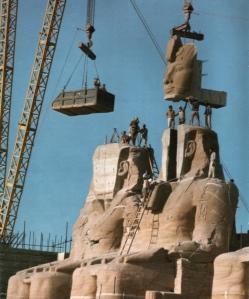 One of the Abu Simbel temples being put back together in 1967 (via)