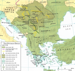 This map, showing Ottoman losses in Europe in the period 1683-1718, shows the impact of the Treaty of Karlowitz (1699)