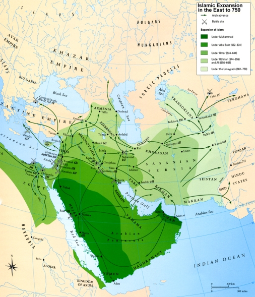 Map - Islamic Expansion to 750