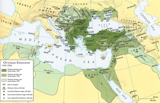 Map - Ottoman Expansion 1451-1566