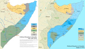 """Somalia map states regions districts"" by Ingoman (James Dahl) - Own work. Licensed under Public Domain via Commons - https://commons.wikimedia.org/wiki/File:Somalia_map_states_regions_districts.png#/media/File:Somalia_map_states_regions_districts.png"