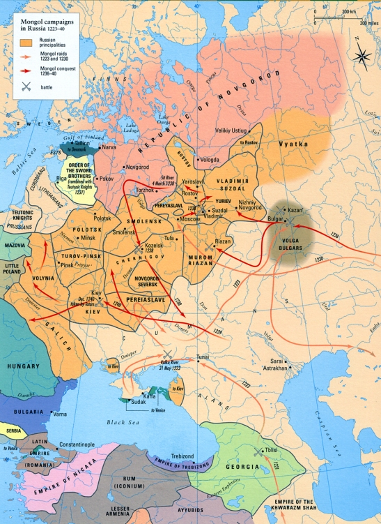 Map - Mongol Campaigns in Russia