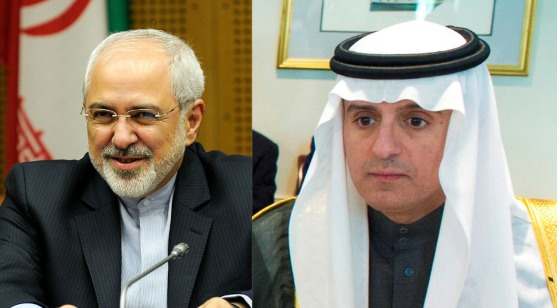 Two people who won't be occupying the same photograph for the foreseeable future: Iranian Foreign Minister Mohammad Javad Zarif (left, Wikimedia) and Saudi Foreign Minister Adel al-Jubeir (right, Wikimedia)