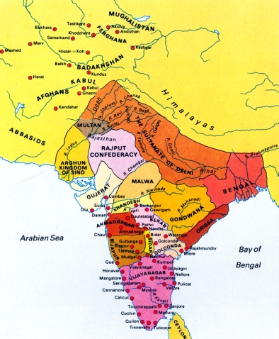 Map - India - Eve of Mughal Invasion