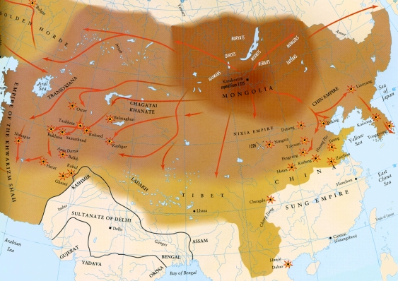 Map - Mongol Empire - Conquest of Chinggis Khan 2