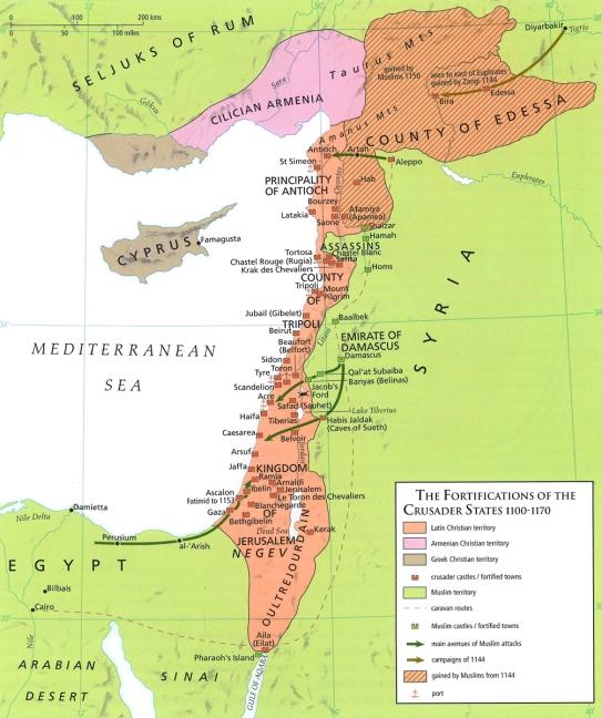 Map - Crusader fortresses