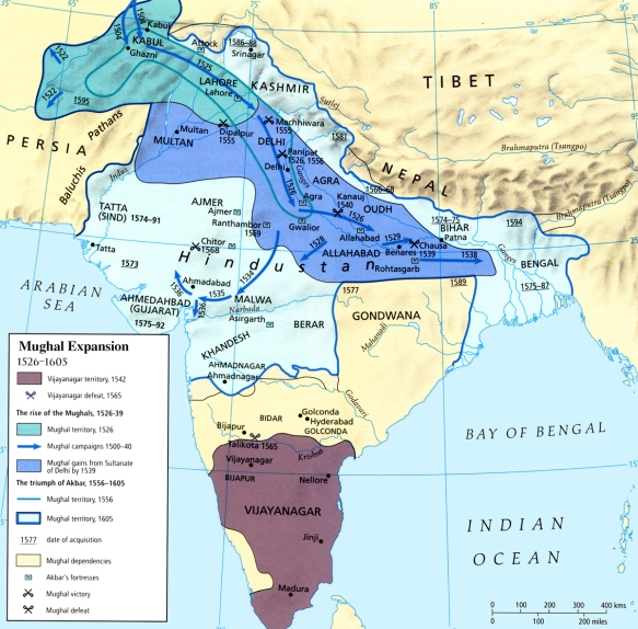 Map - India - Mughal Expansion 1526-1605