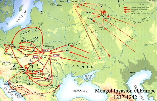 Map - Mongol Invasions of Europe