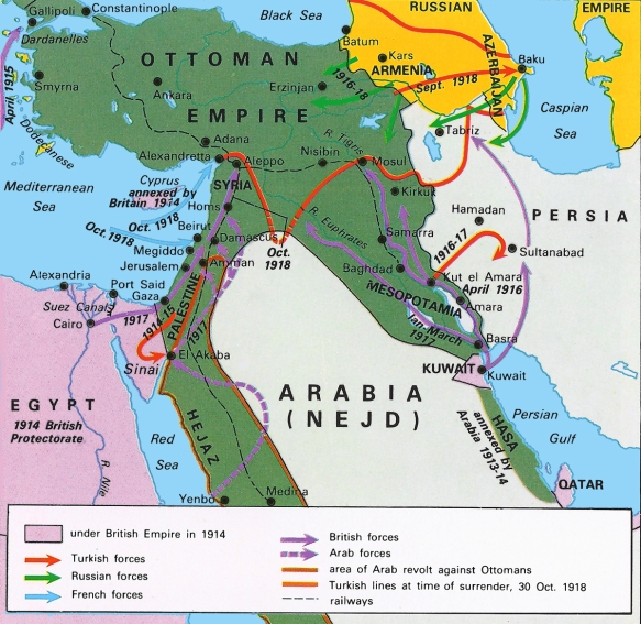 Map - Ottomans in WW I